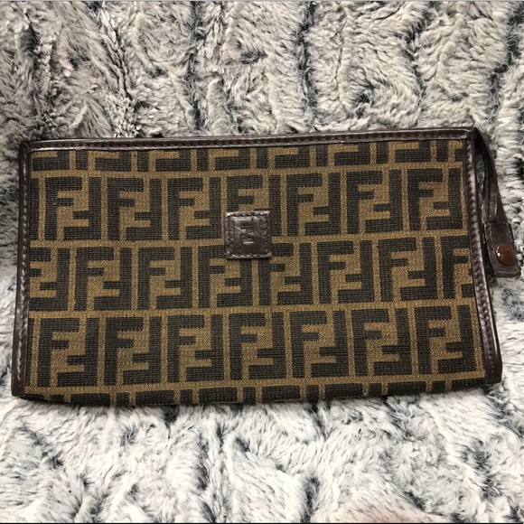 255e95bac362 Fendi Handbags - Fendi Zucca Makeup Bag   Clutch